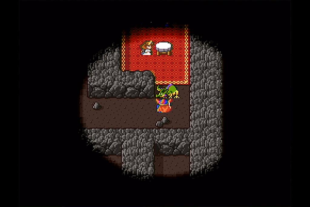 洞窟内でローラ姫を発見