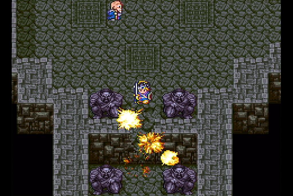 魔法の玉で岩壁を爆破